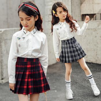 Dzieci w stylu vintage plisowana spódnica dla dziewczyny plaid bawełniane spódnice szkolne ubrania wiosna jesień nastolatek dziewczyna spódnica dzieci odzież 3-14Y tanie i dobre opinie ALIJUTOU Na co dzień Pasuje prawda na wymiar weź swój normalny rozmiar COTTON Poliester Draped LB616 Kolan A-LINE