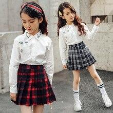 Falda plisada vintage para niñas, faldas de algodón a cuadros, ropa escolar, primavera Otoño, falda para niñas adolescentes, ropa para niños de 3 a 14 años