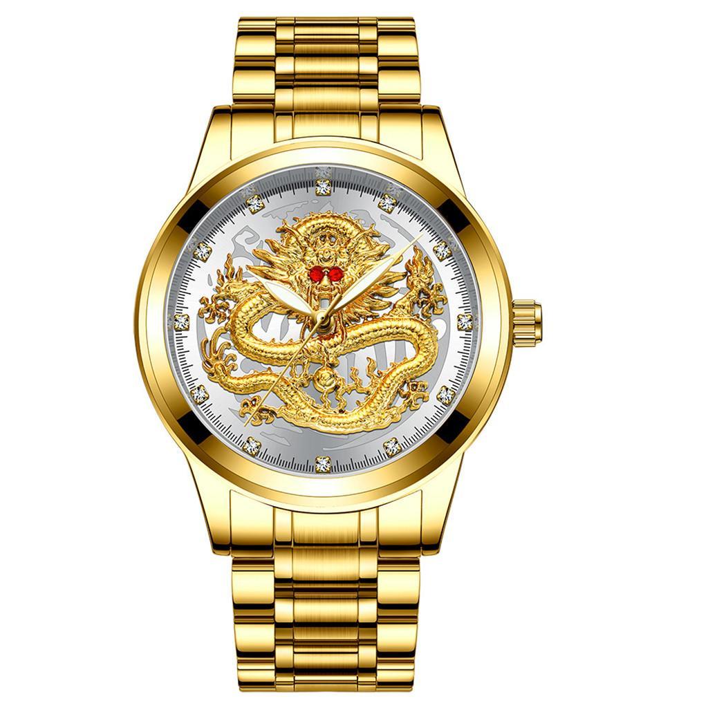 FNGEEN Top Brand Luxury Gold Men No Mechanical Watch 3d Cnc Life Waterproof Dragon Face Full Solid Watches Wristwatch Dropshippi