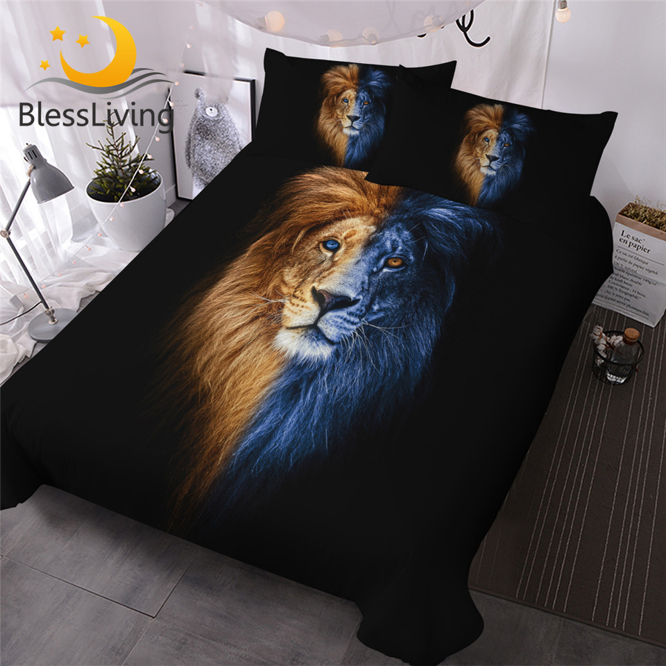 BlessLiving Male Lion Bedding Set Artistic Duvet Cover Wild Animal Bed Covers King Size 3pcs Bed Set Yin And Yang Home Textiles