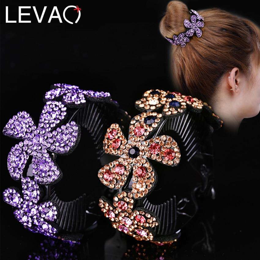 Levao Shiny Rhinestone Flower Hair Claw Bun Hair Pins Ponytail Headwear Hair Accessories For Women Florals Twist Hair Clips