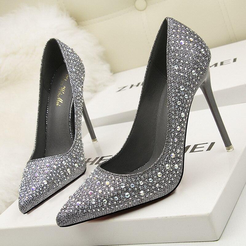 Korean Fashion Sweet And Elegant Elegant High-heeled High-heeled Shallow Mouth Was Thin Pointed Rhinestone Shoes BBNX05270