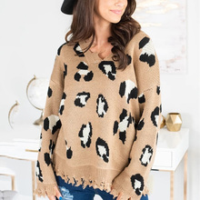 ALLNeon Casual Leopard Knitted Pullovers Women V-neck Oversized Sweaters Animal Print Females Jumpers 2019 Winter Autumn New