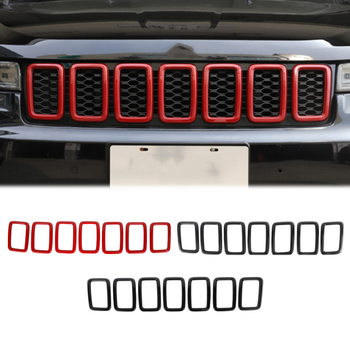 for Jeep Grand Cherokee 2017+ Car Front Insert Grilles Decoration Cover Auto Protection Grill Inserts Exterior Accessories 7Pcs