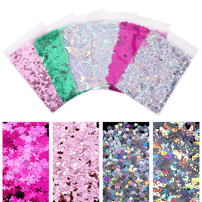 10g Holographic Nail Sequins Shiny Pink Green Mixed Colors Irregular Leaf Flakes Nail Art Decorations DIY Beauty Design Tools