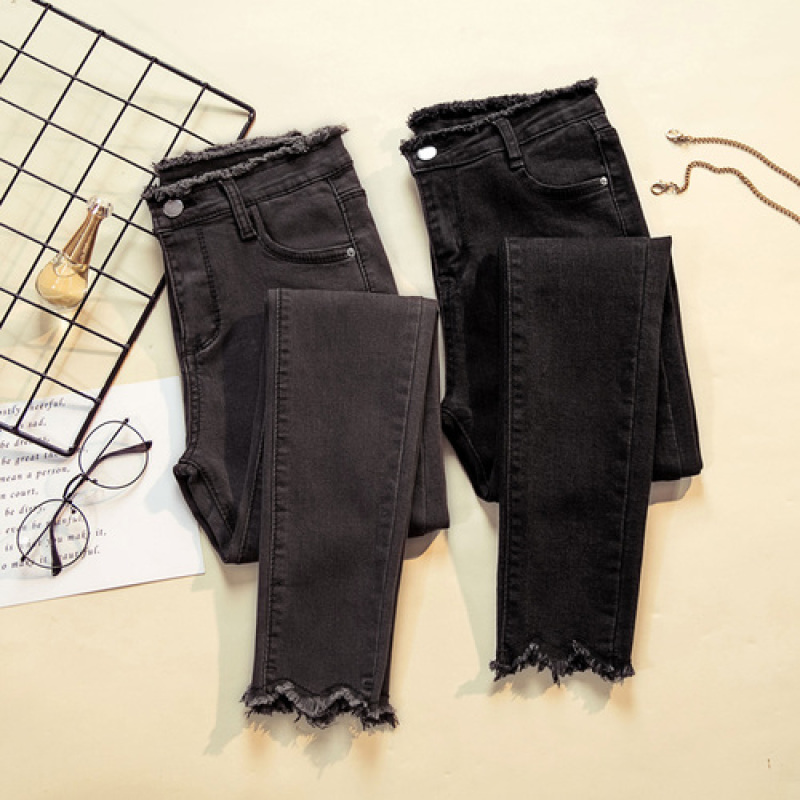 Tassel High Waist Skinny Jeans Woman Chic 2020 Korean Fashion Denim Pencil Pants Woman Gray Black Solid Plus Size Jean Ladies