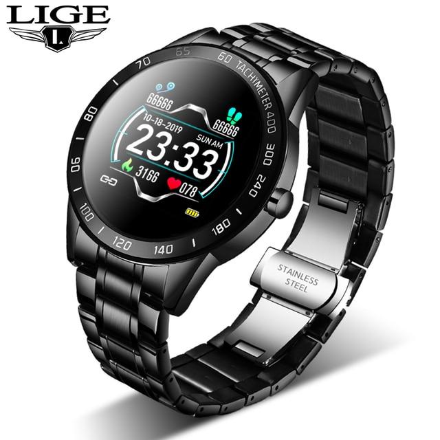 LIGE 2020 new smart watch men women stainless sport for iPhone heart rate Mode Fitness tracker smartwatch reloj inteligente Man
