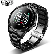LIGE 2020 nuova smart vigilanza degli uomini delle donne in acciaio di sport per il iPhone Modalità di frequenza cardiaca Fitness tracker smartwatch reloj inteligente Uomo
