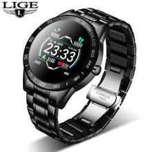 LIGE 2020 새로운 스마트 시계 남성 여성 스테인레스 스포츠 아이폰 심장 박동 모드 피트니스 트래커 smartwatch reloj inteligente Man