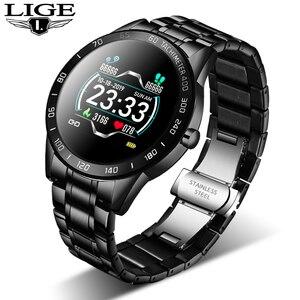 Image 1 - LIGE 2020 새로운 스마트 시계 남성 여성 스테인레스 스포츠 아이폰 심장 박동 모드 피트니스 트래커 smartwatch reloj inteligente Man