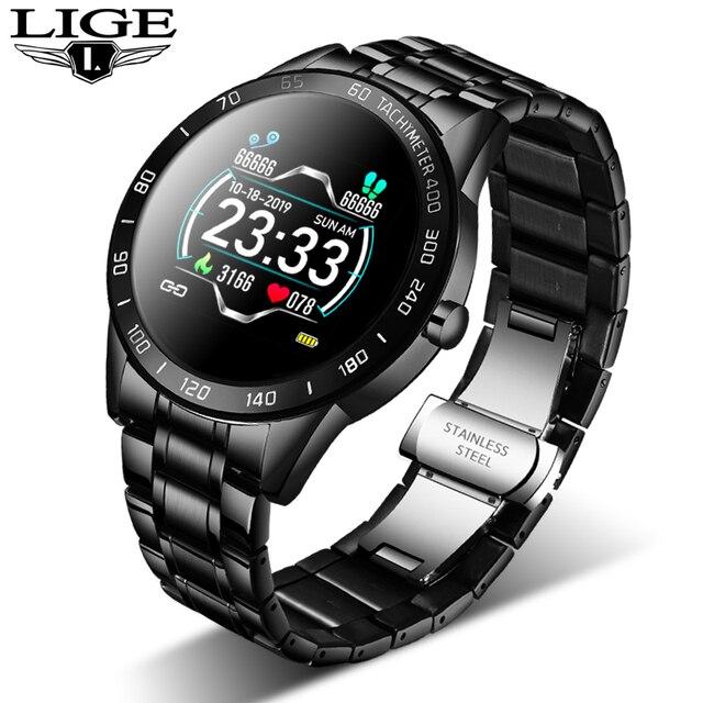 LIGE 2020 جديد ساعة ذكية الرجال النساء المقاوم للصدأ الرياضة آيفون وضع معدل ضربات القلب اللياقة البدنية المقتفي smartwatch reloj inteligente رجل