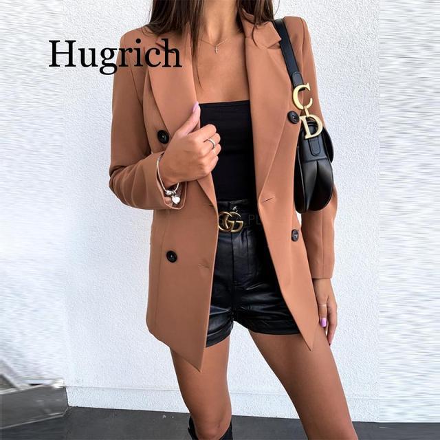 Blazer de moda de Color puro de manga larga para mujer 2020 2