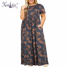 Nemidor 2019 Hot Sales Women O-neck Long Sleeve Long Summer Casual Dress Plus Size 7XL 8XL 9XL Vintage Maxi Dress With Pockets(China)