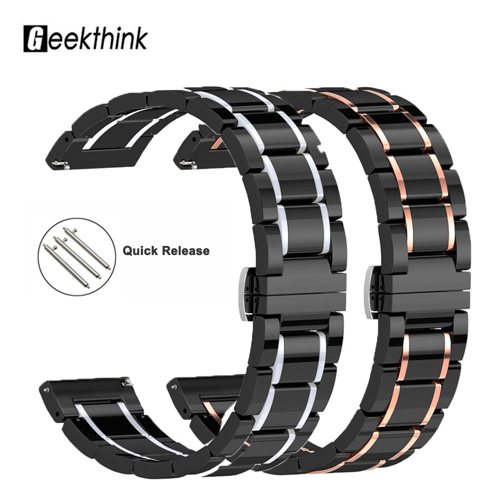 <font><b>20mm</b></font> 22mm 24mm Luxury Ceramic <font><b>band</b></font> For Samsung active 46/42 <font><b>Watch</b></font> For Amazfit Pace/Stratos 2 /Bip <font><b>Smart</b></font> <font><b>Watch</b></font> ceramic strap image