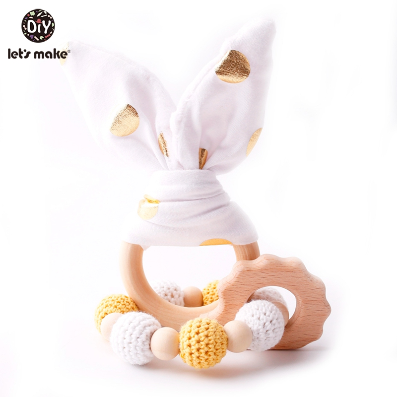 Let's Make 2pc/set Cotton Sounding Bunny Ear Baby Wooden Teether Crochet Beads Beech Wood Teething Baby Rattle Toys For Children