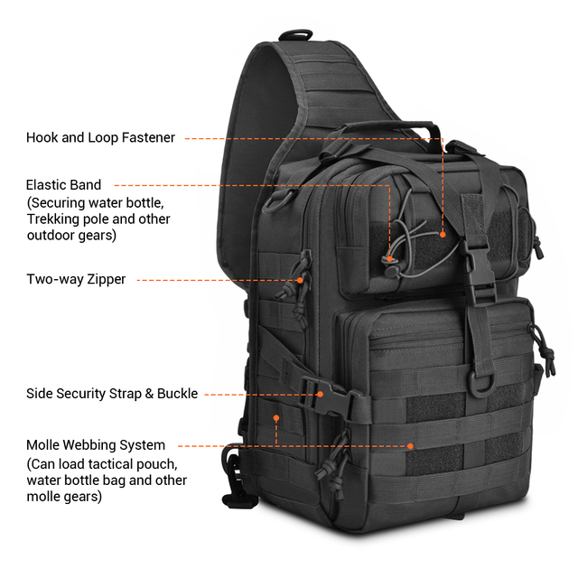 20L Tactical Assault Pack Military Sling Backpack Army Molle Waterproof EDC Rucksack Bag for Outdoor Hiking Camping Hunting 4