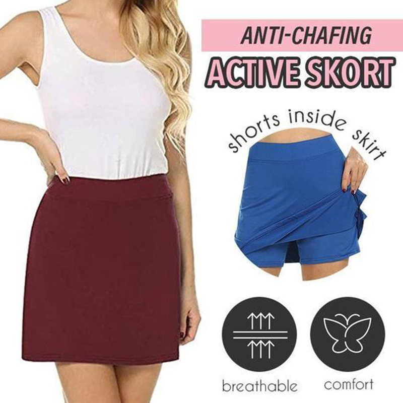 Performance Active Skorts Hidden Pocket Womens Plus Pencil Skirts Womens Running Tennis Golf Workout Sports Anti-chaffing Skirt