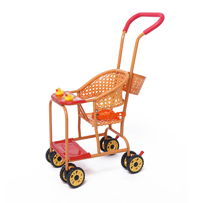 Summer Rattan Chair Cart Portable Universal Wheeled Baby Cart Bamboo Rattan Breathable Rattan Weave Children's Cart