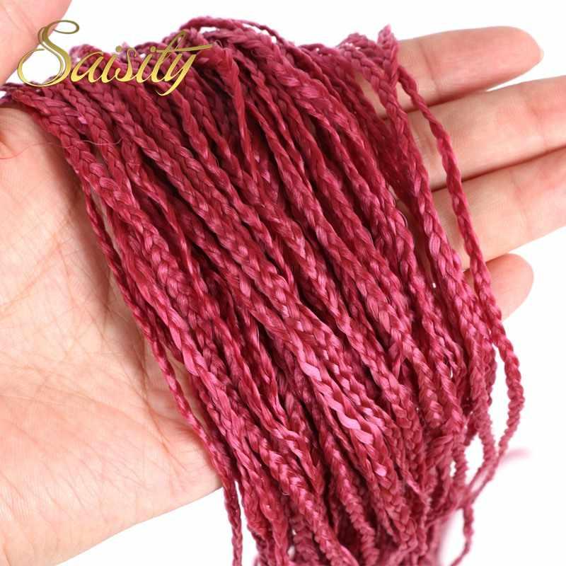Saisity זיזי תיבת צמות צבעוניים סרוגים סינטטי תוספות שיער אפור ורוד סגול סרוגה שיער 48 גדילים/חבילה 50g