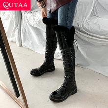 Square Heel Over-The-Knee-Boots QUTAA Snow-Boots Lace-Up Round-Toe Waterproof Winter