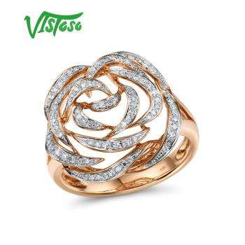 VISTOSO Gold Rings For Women Genuine 14K 585 Rose Gold Ring Sparkling Diamond Promise Engagement Rings Anniversary Fine Jewelry