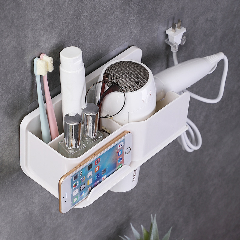 Waterproof Wall Mounted Bathroom Organizer Made Of ABS Metal For Phone And and Comb