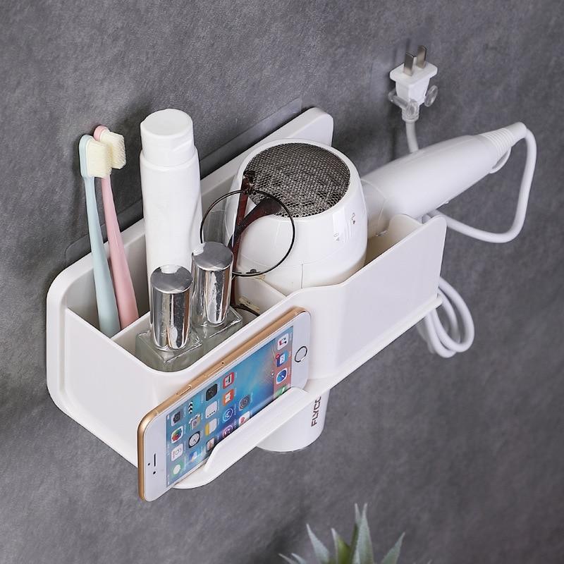 Hair Dryer Holder Rack Metal Bathroom Shelf Storage With Phone Holder Wall-mounted Organizer Waterproof Nail-freel Shelves