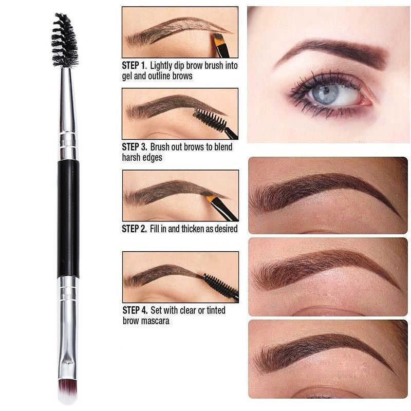 Double-headed Bevel Eyebrow Brush Inclined EyebrowEyelashes Curler Volume Eye Makeup Tool Pincel Maquiagem Professional