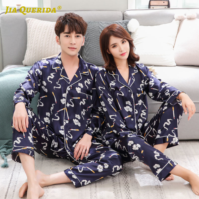 New Casual Style Turn Down Collar Pajamas Set Homesuit Homeclothes Fashion Style Long Sleeve Long Pants Men And Women Couple