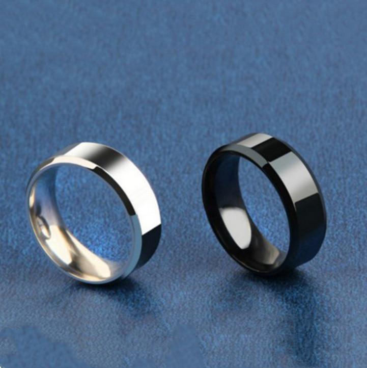 Anillo hombre titanio Negro hombres negro anillo inoxidable fábrica directo amante pareja anillos para mujer