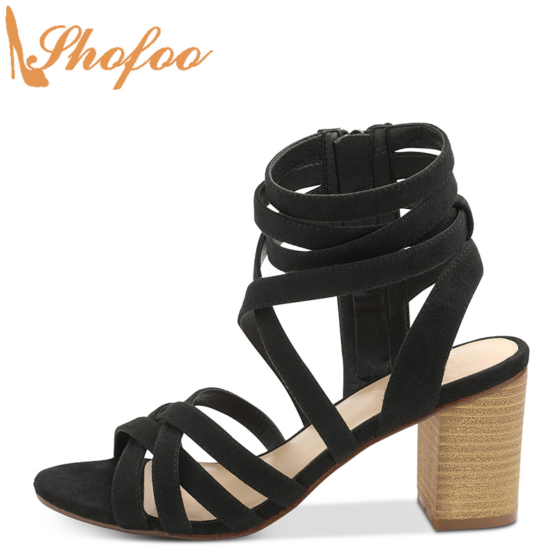 Black High Block Heels Sandals Peep Toe Woman Large Size 12 15 Ladies Fashion Ankle Wrap Cross Tied Mature Office Shoes Shofoo