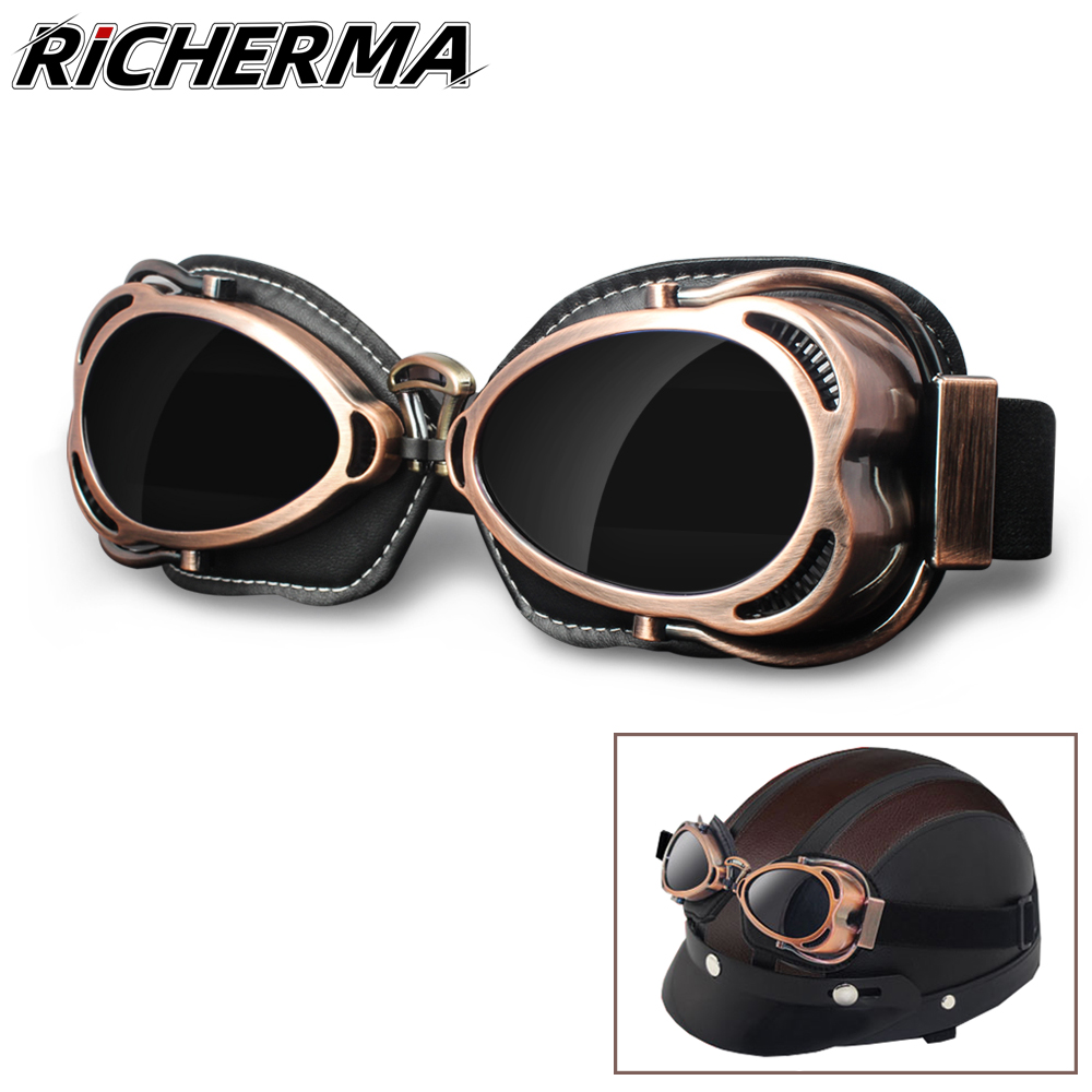 MEN WOMEN ADULTS MOTORCYCLE RETRO VINTAGE UV GLASSES GOGGLES FOR HARLEY HELMET