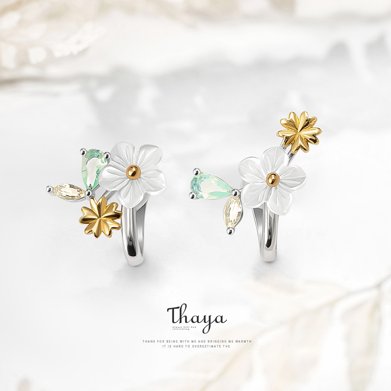 Thaya Original Authentic Solid 925 Sterling Silver Sun Flowers Earings Clip Earrings For Women Engagement Gift Fine Jewerlry