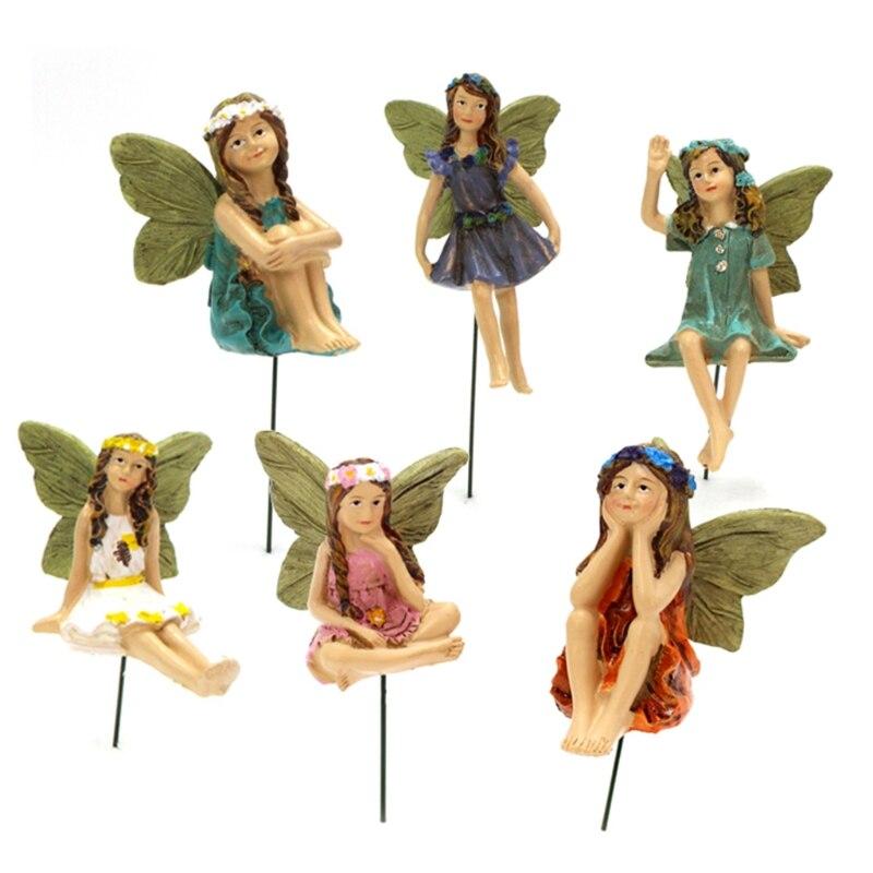 Новинка 2021, миниатюрные сказочные садовые фигурки феи, 6 шт., аксессуары для уличного декора