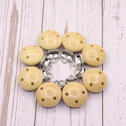 5pcs/Pack Metal Wooden Baby Pacifier Clips Solid Color Holders Cute Infant Soother Clasps Holders Accessories