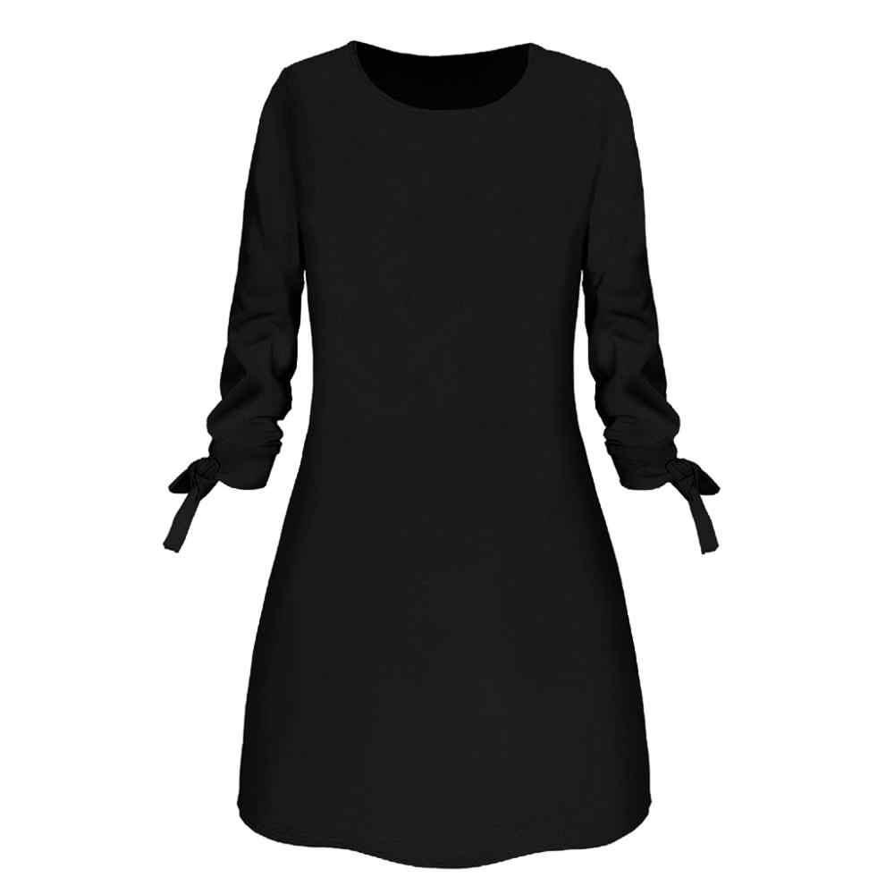 Vendita calda di Inverno Delle Donne del Vestito O-Collo di Modo Solido Arco Elegante Straigth Abito Primavera Allentato Mini Vestiti Da partito del vestito ropa mujer
