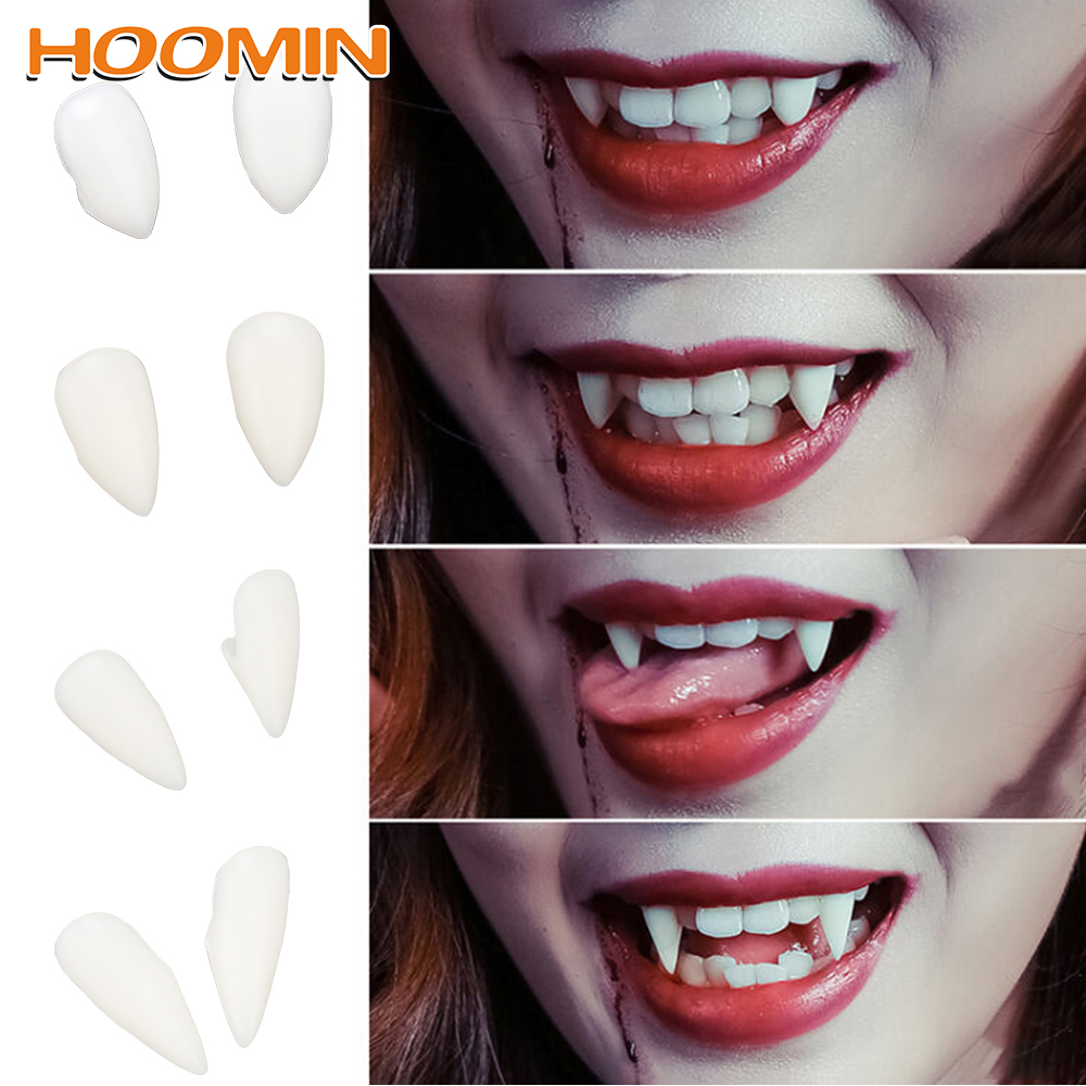 HOOMIN 1 Pair DIY 4 Size Environmentally Friendly Resin Dentures Props Vampire Teeth Fangs Halloween Costume Props Party Decor
