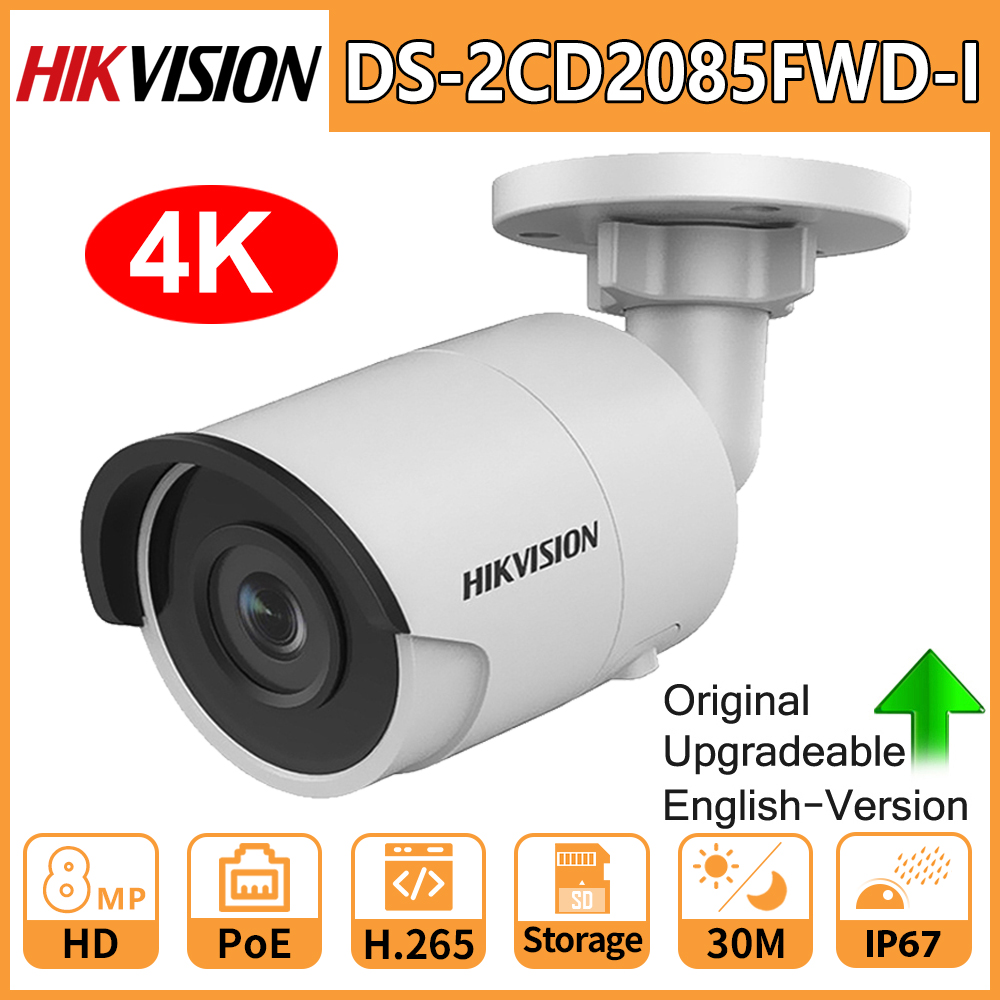 Hikvision Original 8MP 4K IP Camera DS-2CD2085FWD-I IR 30M Fixed Bullet Camara PoE CCTV Network Security IP67 IR 3D DNR Webcam
