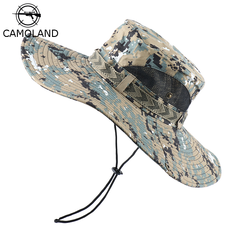 CAMOLAND UPF 50+ Sun Hats Men Long Wide Brim Bucket Hat Outdoor Camouflage Hiking Fishing Boonie Caps For Male Beach Hats