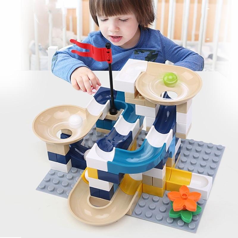 Marble Race Run Block Big Size Compatible Duploed Building Blocks Plastic Funnel Slide DIY Assembly Bricks Toys For Children