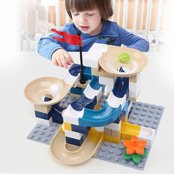 Marble Race Run Block Big Size Compatible Duploed Building Blocks Plastic Funnel Slide DIY Assembly Bricks Toys For Children funlock duplo marble run plastic slide 43p blocks crystal snowice building toys for children