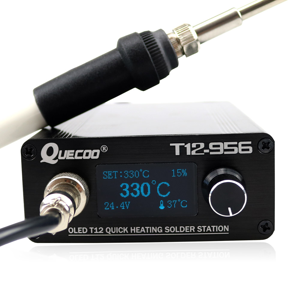 STC T12 956 OLED crylic panel Soldering Station Electronic Soldering iron welding tool with 907 handle-in Soldering Stations from Tools