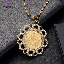 Rabian starożytny wisiorek w kształcie monety muzułmańskie naszyjniki z kryształem kobiety/mężczyźni, dwukolorowy złoty kolor biżuteria bliski wschód afrykański prezent