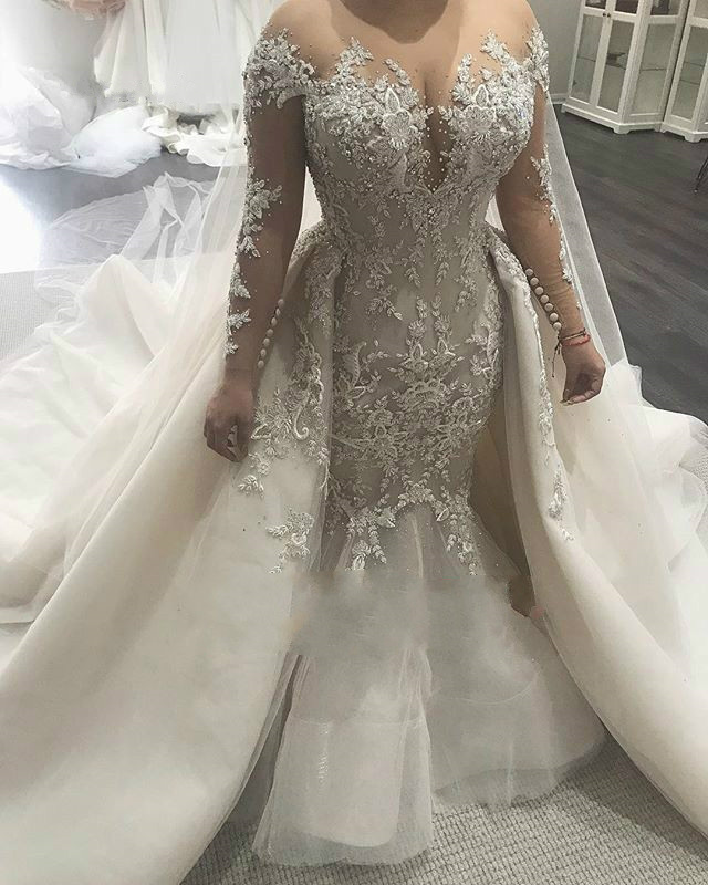 Gorgeous Overskirt Mermaid Wedding Dress Shiny Plus Size Applique Country Wedding Gowns With Beaded Long Sleeve Best Bride Dress