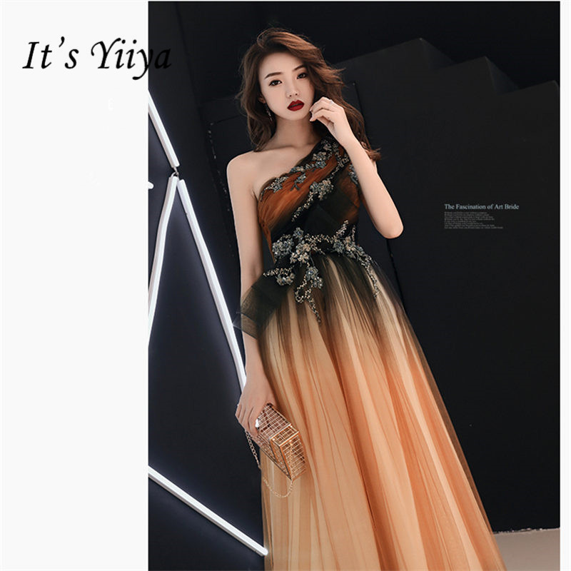 It's Yiiya Evening Dress Elegant Sleeveless One-Shoulder Robe De Soiree A-Lline Floor-Length Crystal Women Party Dresses E872