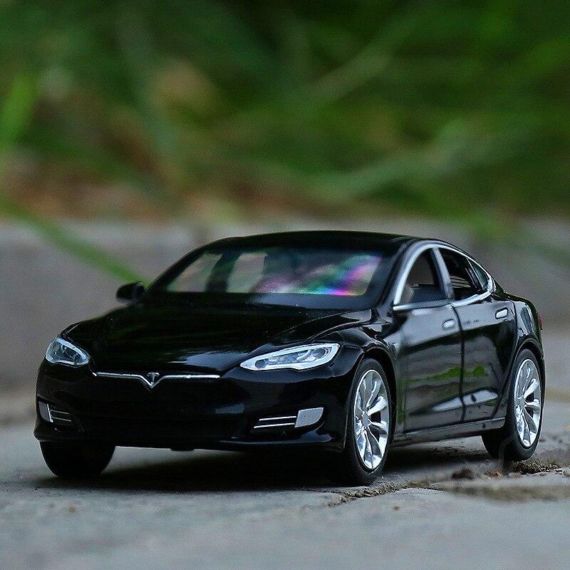 132 alta simulação tesla modelo s liga puxar para trás modelo de carro, 6 portas simulação som e controle de luz, frete grátis