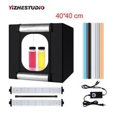 Yizhestudio 40*40 cm מתקפל photobox 2 פנל LED אור צילום ירי אוהל led סטודיו צילום רקע תיבת אביזרים