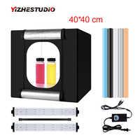 Yizhestudio 40*40 cm składane photobox 2 Panel doprowadziły światła stock strzelanie namiot LED studio budka foto tło akcesoria
