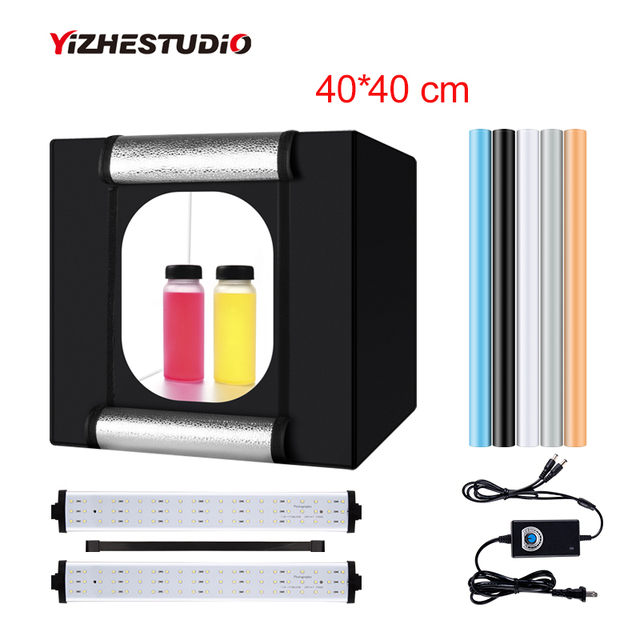 $ US $41.06 Yizhestudio photo box 40*40 cm LED Light box tabletop Shooting foldable Tent led studio box photobox for photography background