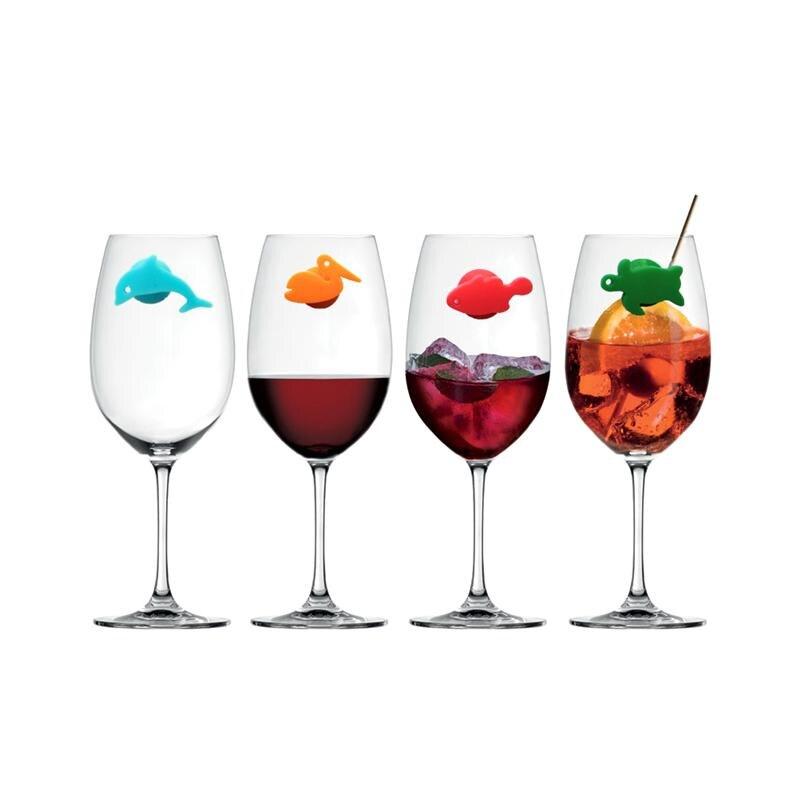 Marqueurs en verre à vin en Silicone, 24 pièces, marqueurs danimaux de mer et de terre, signe de tasse à boire